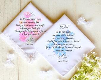 Personalised Wedding Handkerchief, Wedding Hankie Set, Wedding Hankerchief, Father of the bride Handkerchief,Mother of the Bride #2