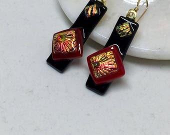 Earrings – Red and Black Dichroic Fused Glass Earrings