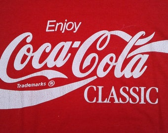 Vintage 80's Coca Cola Classic t-shirt large Made in USA by Screen Stars butter paper thin