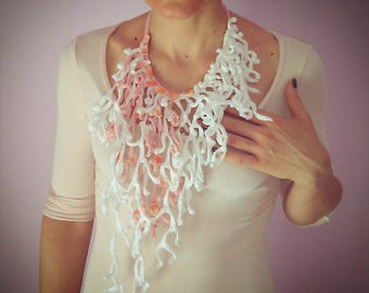 Coral necklace. Marine necklace, unique gem, necklace crochet, crochet necklace, elegant necklace white Necklace, jewellery, crochet, Jewelry