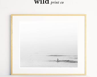 Surfer Print, Minimalist Wall Art, Beach Surf Digital Print, Relaxing Wall Art, Black and White Surf Print, Modern Beach Art, Surf Printable