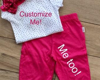 Newborn Gift, Custom, Baby Onesies, Baby Girl, Polka Dot, Bodysuit for Girl, Baby Clothes for Girl, Personalized, Baby, Pants for Girl