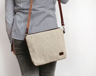 Messenger bag Natural canvas Bag Casual Purse for her Gift for her Crossbody Purse Valentine gift Leather Handbags - model BC natural