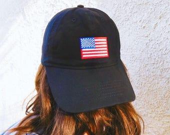 Fourth of July Dad Hat, American Flag Dad Hat, Fourth of July Baseball Hat, 4th of July Dad Hat, Black 4th of July Hat, Black Dad Hat,