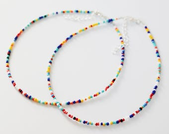 rainbow beaded choker - colorful seed bead choker, rainbow choker necklace, glass bead choker, seed bead choker, dainty, delicate, simple