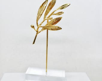 Wedding favor, unique wedding, olive branch favor,Greek wedding,olive twig, handmade olive branch on perspex stand,made to order, 5 items