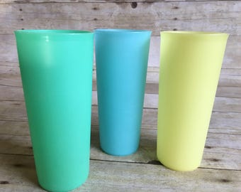 Vintage 1960s Stackable Tupperware Tumblers Set of Three Pastels Yellow, Blue, Green