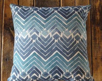 Indigo Geometric Pillow Cover // Kelly Ripa Home Fabric // Shades of Blue // Cotton Duck // 18x18 // 20 x 20