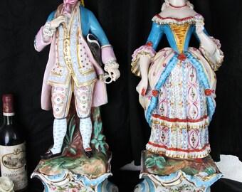 PAIR XL vieux paris porcelain attr. jacob petit couple figurines on base