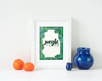 Poster Jungle Fever, tropical leave, jungle, green, illustration and typography