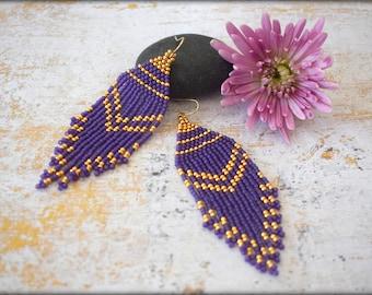 Fringe Earrings,Purple Fringe Earrings,Beaded Fringe,Long Fringe Earrings,Bold Earrings,Statement,Gift for her,Nickel Free,Boho Earrings