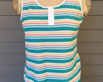 Striped Terry Cloth Tank Top Sears Size Small 1970 1980 | Scoop Neck | Teal Yellow Red Blue Stripes | Roller Skating Top | Retro Beach