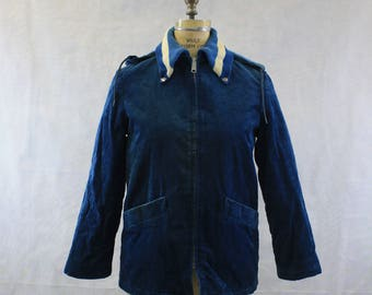 """1970-1980's Unisex Blue and White Coat 