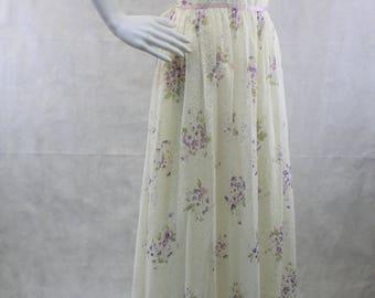 Sleeveless Bohemian Lace Dress | 1970s Sweetheart Ivory Purple Floral Print Dress | Prairie Dress | Romantic Bohemian Wedding Dress |Prom