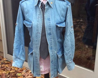 Unisex Denim Safari Jacket - Likely the Coolest, Most Unique and UpScale Denim Jacket on Earth- small