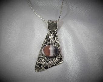 "Item 6112 - ""Waves of Encouragement"" - Fine & Sterling Silver Hand sculpted carved Pendant set with Genuine Botswana Agate"