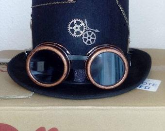 Gothic Steampunk Hut Hat Schwarz Zylinder Steampunk Goggles Size 60