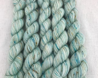 mini skeins, speckled merino lush single ply superwash, hand dyed knitting yarn - cove colourway