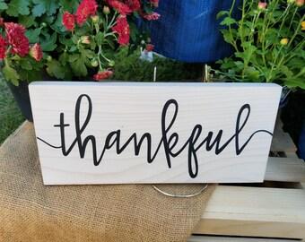 Thankful Sign-Hand Painted Sign-Farmhouse Decor-Wall Decor-Fall Decor