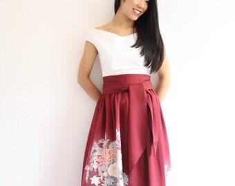 Vintage Japanese Kimono Skirt   Floral Skirt   Long Skirt   Red Skirt   Bridesmaid Skirt  