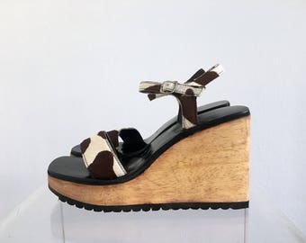 Chunky Wooden Cow Print Wedge Sandals Size 41 10/11