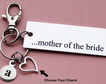 Personalized Mother Key Chain Mother Of The Bride Stainless Steel Customized with Your Charm & Initial - K729