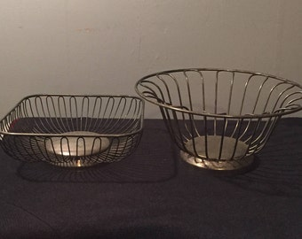 Pair of Antique Metal  Baskets - Mid Century Silver Plated Wire Baskets