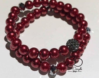 8mm Dark Red Glass Pearl Beaded Bracelet with Grey Pave Crystal accents