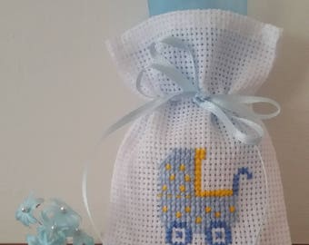 Embroidered in cross stitch confetti bags