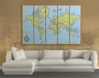 Blue large world map canvas, World atlas map Detailed world map pushpin map of the world World map wall art Political world map Classic map