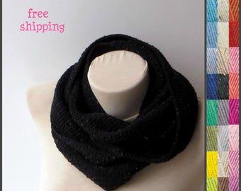 Black infinity scarf, Cozy infinity scarf, Crochet scarf, Scarfs, Knit infinity scarf, Oversized scarf, Chunky scarf, Cowl infinity scarf.