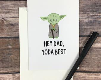 father's day card - yoda card - star wars card - funny dad card - card for dad from son - card for dad - cute dad card - dad bday -