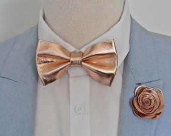Rose Gold leather bow tie for men,boys rose gold wedding bow tie, wedding boutonnere, genuine gold leahther toddler bowtie,rose gold bow tie
