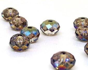 6mm Faceted Rondelle Bead, Swarovski Crystal, Iridiscent Green Bead, Loose Beads, Swarovski Elements, Metallic Color, Bronze, 5040, YC3294A