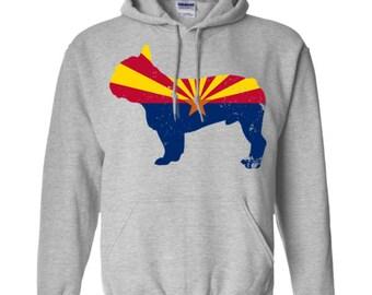 French Bulldog Hoodie, Arizona State Flag Hoodie, French Bulldog Shirt, French Bulldog Sweatshirt, French Bulldog Hooded Shirt, Gift For Her