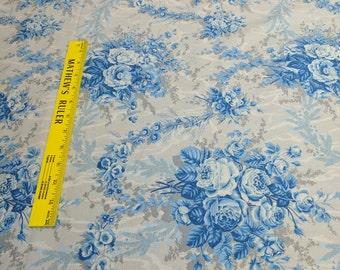 Blue Flowers on Gray Cotton Fabric