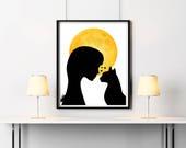 Black cat print, Digital downloading, Woman silhouette, Cat printable, Moon print, Moon decor, Woman with cat print, Cat artwork, Cat print