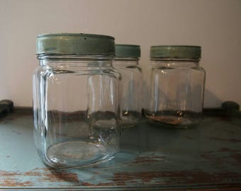 Glass Storage Canister, Vintage Glass Kitchen Storage Container, Retro Blue  Metal Lidded Jar,
