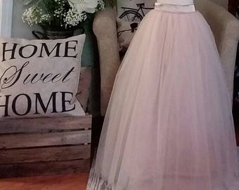 Free Shipping to USA Custom Made Girls mix  Champagne  and Blush  and Ivory   Floor Length Tulle Skirt -for Flower Girl,Rustic Wedding