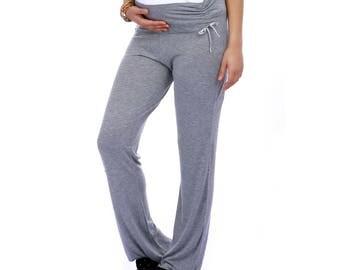 Jammies Comfortable Maternity Nightwear,Pregnancy Soft Nightdress, Viscose, Grey Mélange, Inky Blue, Pregnancy Pyjamas, Maternity Pyjamas,