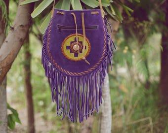 Peruvian Backpack Bag Purse Medicine Totem Chakana Chacana Cross Flower of Life Stone Leather Fringe Tassels Boho Native Gipsy