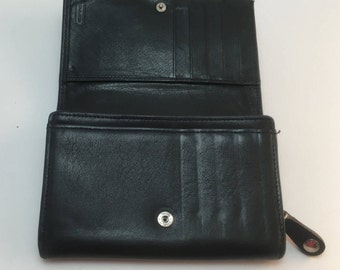 Vintage Coach Black Leather Bi-Fold Accordion Pocket Zip Wallet Mint Condition