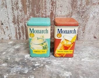 Retro Monarch Tea Tins ~ Monarch Green Tea ~ Monarch Orange Pekoe Tea ~ Vintage Kitchen ~ Vintage Tea Tins ~ Mid Century Kitchen