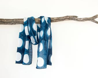 Summer Scarf, Blue Scarf, Shibori Scarf, Circle Scarf, Boho Scarf, Hand Dyed Scarf, Womens Scarves, Gifts for Her Birthday, Cotton Scarf