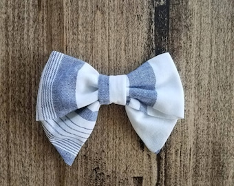 Handsewn white & chambray sailor bow, hair bow, kids accessories, chambray, bows, fabric bow, clip, girls accessories