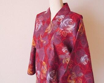 Vintage Japanese Kimono/Silk Robe/Japanese Robe/Wine Red Color