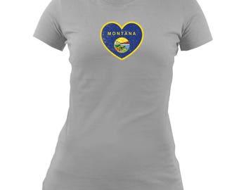 Original Ladies Montana Heart State Flag T-shirt
