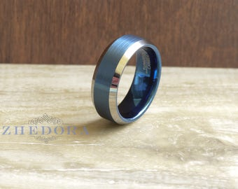 Tungsten Mens Ring Mens Flat Brushed Blue Center Wedding Band Tungsten Mens Band High Polish Beveled Edge 8mm Mens Ring Anniversary Ring 692