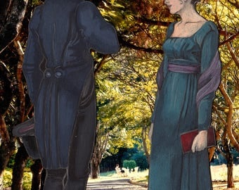 """TACCUINO fatto a mano """"Lungo il viale"""" Mr Darcy e Elizabeth Bennet Orgoglio e pregiudizio Jane Austen Pride and prejudice Notebook handmade"""