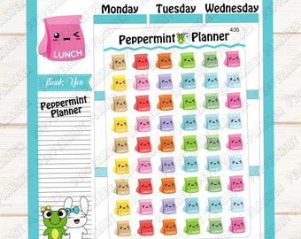 Lunch Boxes -- Lunch Bags -- Planner Stickers -- Track your Lunch -- 435